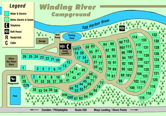 Winding River Campground Site Map